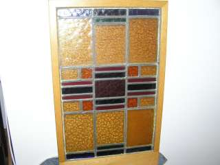 ANTIQUE ART DECO STAINED GLASS LEADED WINDOW.