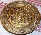 Vtg Repousse Brass Wall Hanging Plate~English Pub Scene~Made in