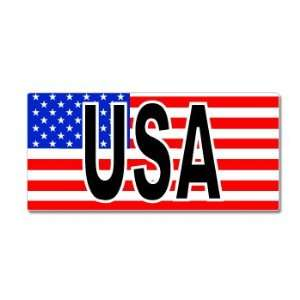 USA With American Flag Stars and Stripes   Window Bumper