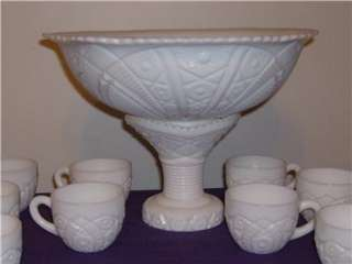 McKee Milk Glass Punch Bowl Set   Depression Era