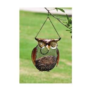 Owl, Metal and Glass Bird Feeder   (Bird Feeders) (Owl) (Seed Feeders)