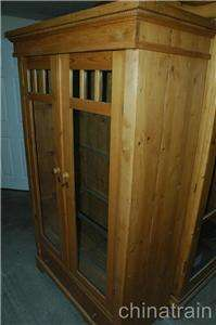 Antique Colonial Knotty Pine 2 Glass Door 1 Drawer Display Cabinet