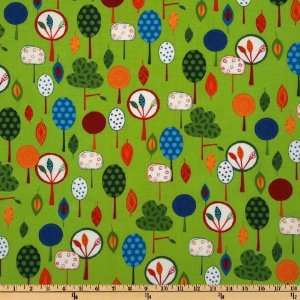 44 Wide Animal Party Too Trees Green Fabric By The Yard