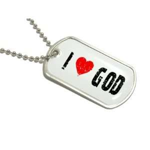 I Love Heart God   Military Dog Tag Keychain Automotive
