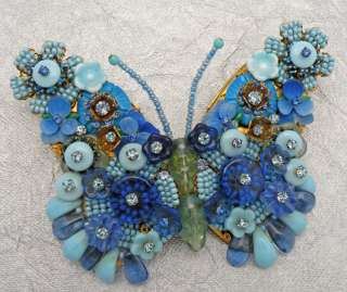 Vintage Stanley Hagler NYC Blue Beaded Wire Work Rhinestones Butterfly