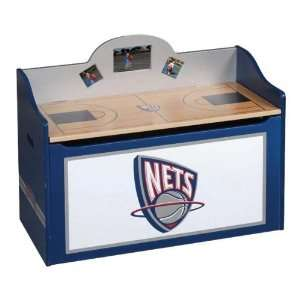 New Jersey Nets Wood Wooden Toy Box Chest