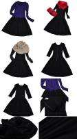 piece black dress cotton blend long sleeves pleated round neck