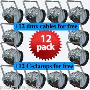 12 PAR64 LED RGB Stage lighting/Dj Lights DMX American Free Clamps+Dmx