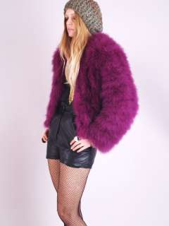 Vtg Violet OSTRICH FEATHER FUR Fox Draped SHAGGY Bolero Jacket Dress
