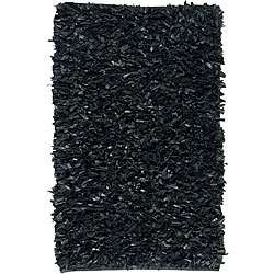 Deluxe Black Leather Shag Rug (5 x 8)