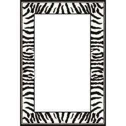 Collection Zebra Border Black/ White Rug (4 x 6)