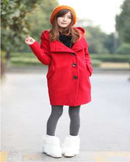 New Korean Women Single breasted Woolen Blend Coat / Jacket 3 Colors
