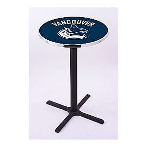 Vancouver Canucks HBS Pub Table with Black Wrinkle base