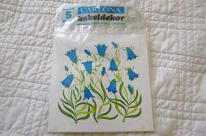 SWEDISH Decorative Tiles (5) Stickers Blue Bell Flowers