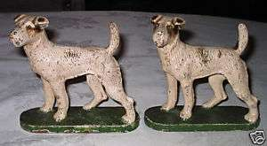 HUBLEY AIREDALE DOG ART STATUE SCULPTURE BOOKENDS CAST IRON TERRIER