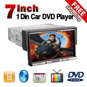 Touch Screen 1 Din Car Radio CD/DVD Player Bluetooth