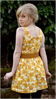 YELLOW ROSES vintage style MINI sleeveless belted DRESS