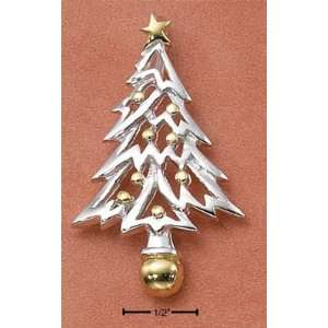 Sterling Silver Two tone Christmas Tree Charm Arts, Crafts & Sewing