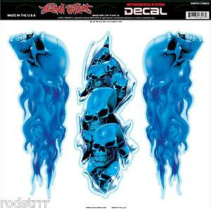 Lethal Threat Flaming Blue Skull Set Decal Sticker Art Graphic Biker