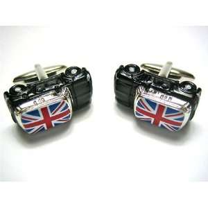 Black Mini Copper British Union Jack Flag Cufflinks Jewelry