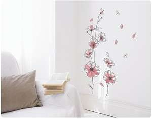 Flowers & Butterfly Adhesive Removable Wall Decor Accents Stickers