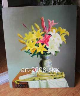 Original Still Life Oil painting Flower art Lily and Sachs on canvas