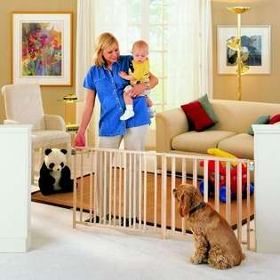 Inc Ravazzana Extra Wide Swing Baby Gate Wood Brn Ctn 1pk