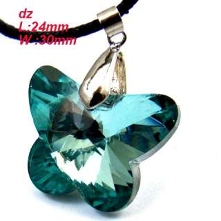 Butterfly Bead Glass Crystal Pendant Necklace Jewelry Gift