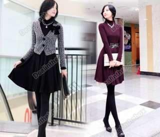 New Korea Business Women OL Stylish Slim High Neck Dress Fashion Long