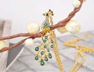 New Fashion Jewelry Womens Luxury Gold Peacock Pendant Long Necklace