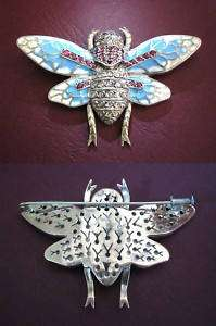 Large Georgian enamel Diamond Ruby Butterfly brooch
