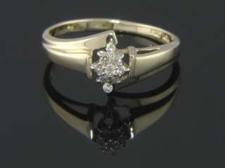 PURE 10K YELLOW GOLD NATURAL DIAMOND LADIES BYPASS RING