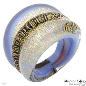 240 24K 2 Tone Genuine MURANO GLASS RING Size 7  New