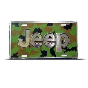 Jeep Car Auto License Plate Wall Sign Tag Camouflage Background Jeep