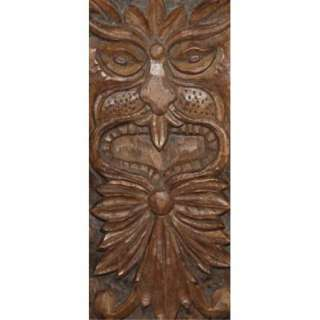 BULGARIAN HAND CARVED WOOD ABSTRACT FACE WALL HANGING PLATE SIGNED