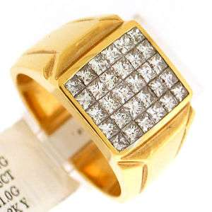 15Ct VSI F Princess Cut Mens Diamond Ring 18K Gold