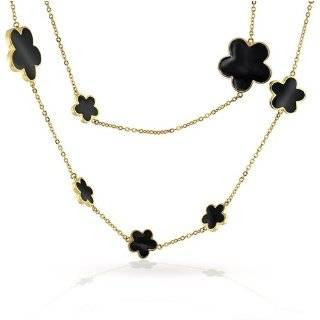 Bling Jewelry Lauren G Adams Gold Plated White Clover Station Necklace