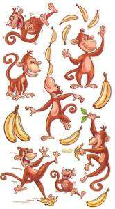 Sticko Silly Dancing Monkeys With Bananas Stickers