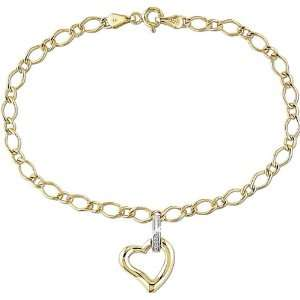 10k Two tone Gold Diamond Heart Charm Bracelet Jewelry