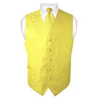 Mens Yellow Paisley Design Dress Vest and NeckTie Set for Suit or