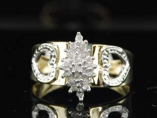 LADIES YELLOW GOLD CLUSTER DIAMOND ENGAGEMENT RING BAND