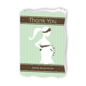 Mommy Silhouette Its Twin Babies   Personalized Baby Thank You Cards