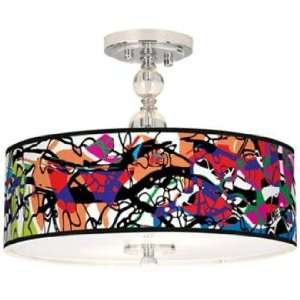 Paintbox Giclee 16 Wide Semi Flush Ceiling Light