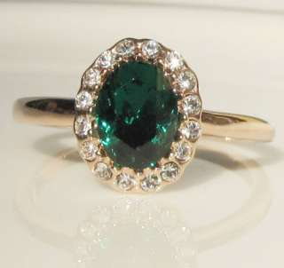 Carat green Emerald Princess 18K gold GP Ring promise engagement
