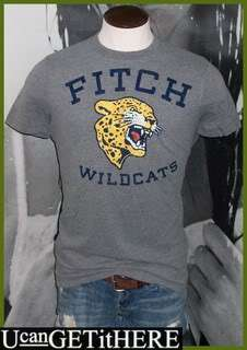 Mens Abercrombie & Fitch Wildcats Shirt XL NWT Gray, Navy Blue Yellow