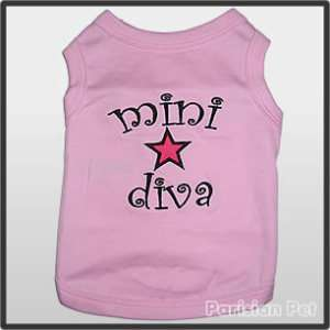 Pet Dog Clothes T Shirt ★ MINI DIVA ★ XXS,XS,S,M,L,XL