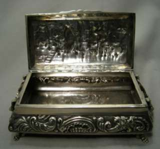 Antique 830 Silver Footed Jewelry Box Holland