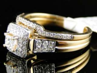 14K WOMENS YELLOW GOLD DIAMOND PRINCESS ENGAGEMENT WEDDING RING BAND