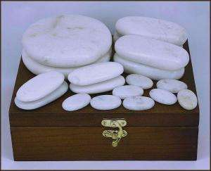 WHITE JADE 18 PIECE HOT/COLD STONE MASSAGE SET . NEW