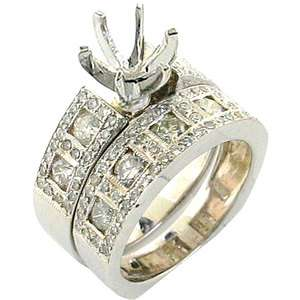 00ctw Round Diamond Semi Mount 14k White Gold Engagement Ring Set